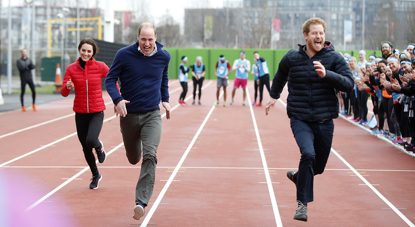 Britain's Prince William, Kate, the Duchess of Cambridge and Prince Harry take part in a relay race, during an event promoting the charity Heads Together, at the Queen Elizabeth II Park in London, February 5
