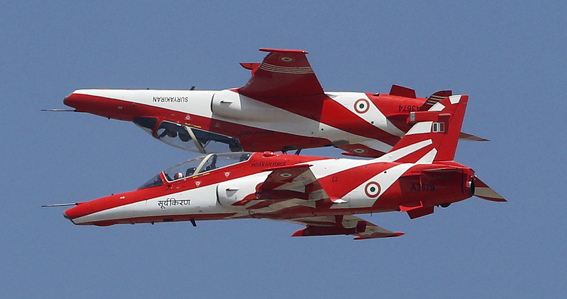 Indian Air Force aircrafts performing aerobatic maneuvers
