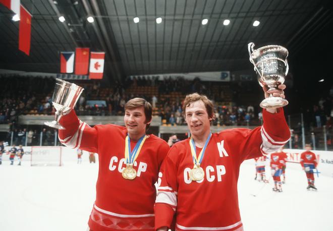 Soviet goaltender Vladislav Tretyak and captain of the team Valery Vasiliev after awarding at the world ice-hockey championship in Helsinki, Finland, 1982