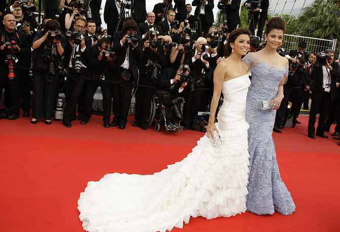 Actresses Aishwarya Rai and Eva Longoria at the 63rd international film festival, in Cannes, 2010