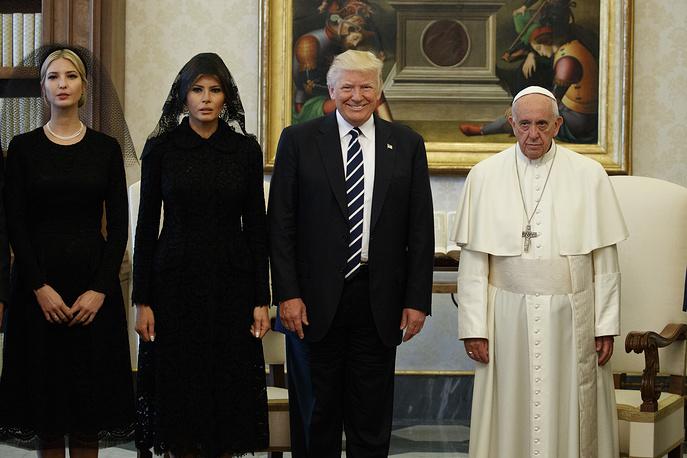 Ivanka Trump, US first lady Melania Trump, US President Donald Trump and Pope Francis, Vatican, May 24