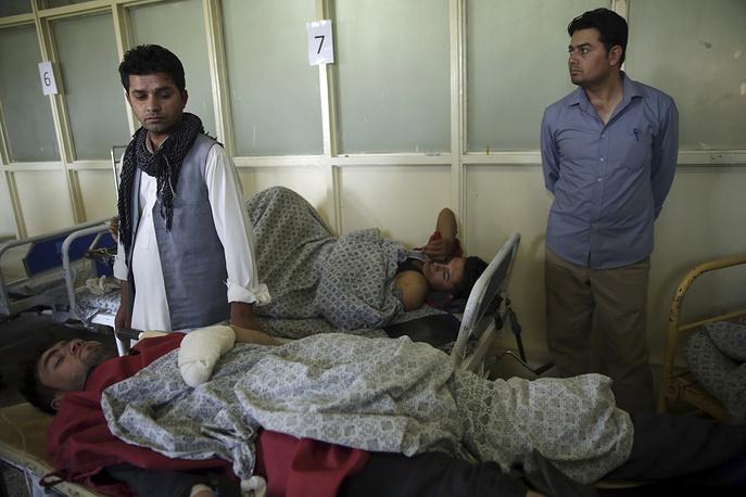 Wounded men in Wazir Akbar Khan Hospital in Kabul