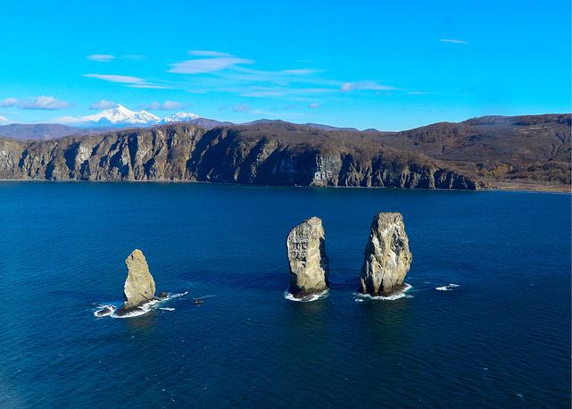 Avacha Bay, a Pacific Ocean bay on the southeastern coast of the Kamchatka Peninsula. Photo: Tri Brata (Tree brothers) rocks at the entrance to the Avacha Bay