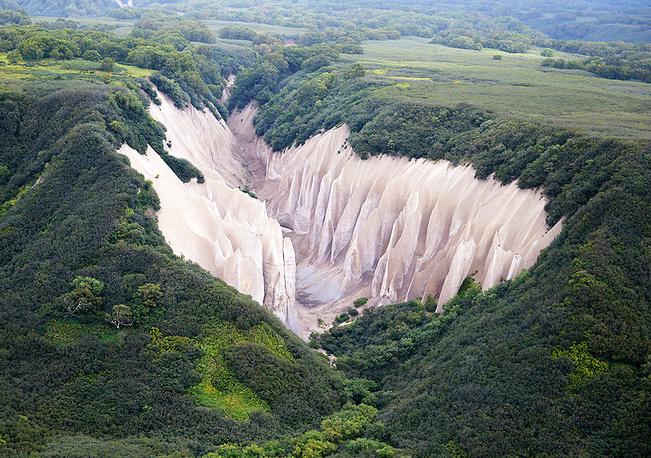 Kuthiny Baty, bizarre pumice cliffs, located about 4 kilometers from the source of the Ozernaya River (Lake Kurilskoye) in Kamchatka