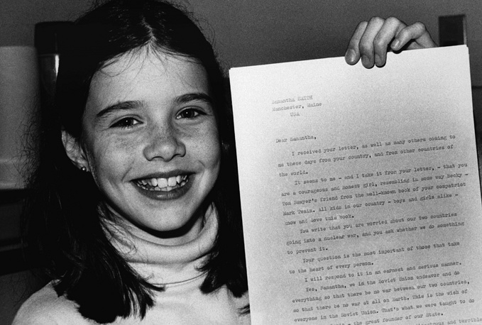 "Ten-year-old US schoolgirl Samantha Smith holds the letter from Soviet leader Yuri V. Andropov on April 25, 1983 in Manchester, that have his personal assurance that the Soviet Union ""Will never, but never be the first to use the nuclear weapons against any country"""