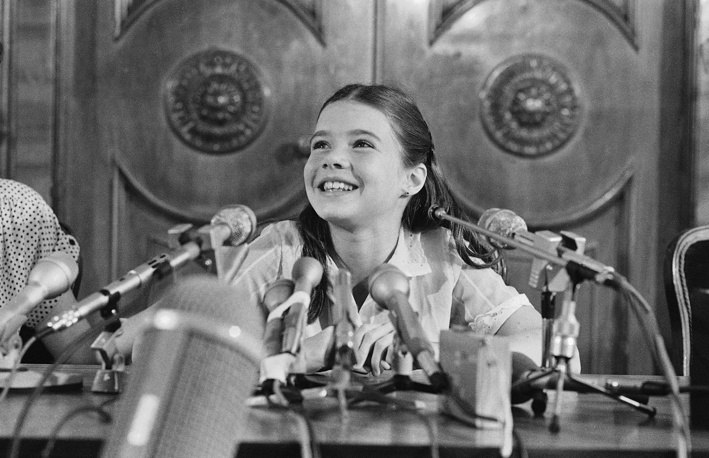 Samantha Smith at a press conference in Moscow hotel, 1983