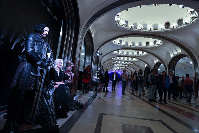 People dressed as Game of Thrones characters attend the screening of season 7's episode at Mayakovskaya subway station in Moscow