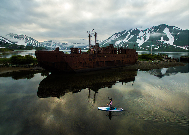 An abandoned ship in the Bechevinskaya Bay, Kamchatka