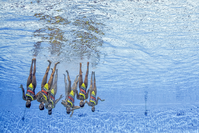 Team United States of America performs during the Women's Team Free Synchronized Swimming Final Free Routine