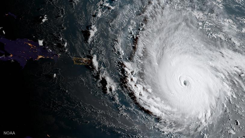 Hurricane Irma, a potentially catastrophic category 5 hurricane, moves westward in the Atlantic Ocean toward the Leeward Islands, September 5