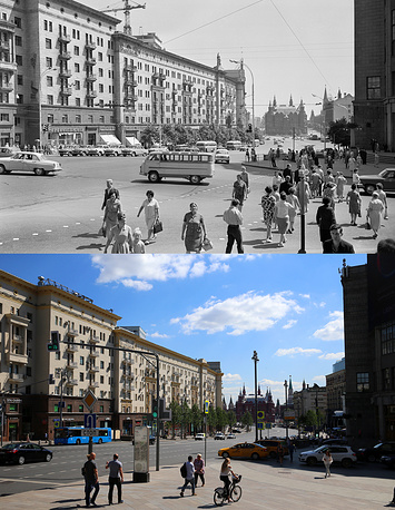 Above: Gorky Street, 1966 Below : The Central Telegraph building in Tverskaya Street, 2017