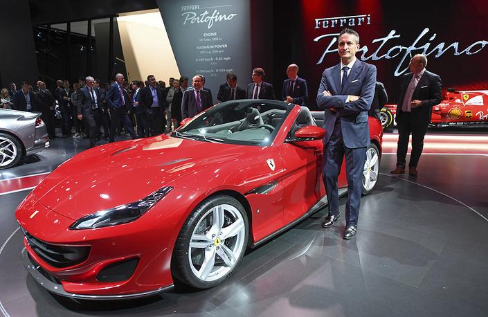 Ferrari vice president Enrico Galliera presents the new Ferrari Portofino at Frankfurt Motor Show IAA in Germany