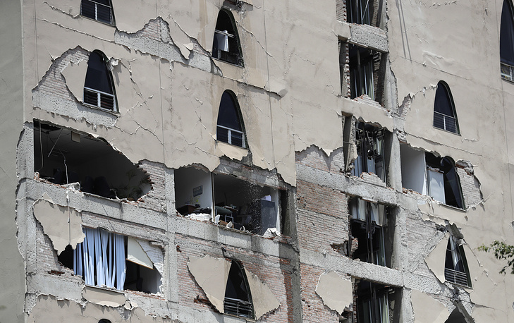 Remains of a damaged building stands after an earthquake in Mexico City