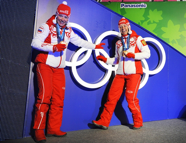 Bronze medalists in cross-country skiing Irina Khazova and Natalia Korosteleva at 2010 Winter Olympics in Vancouver, Canada