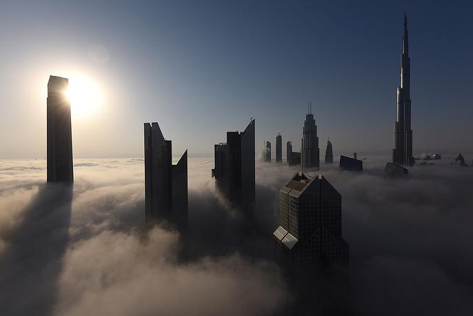 General view of Burj Khalifa during a heavy fog in Dubai, United Arab Emirates, September 27