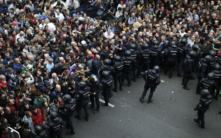 Spanish National Police confronts people in Barcelona