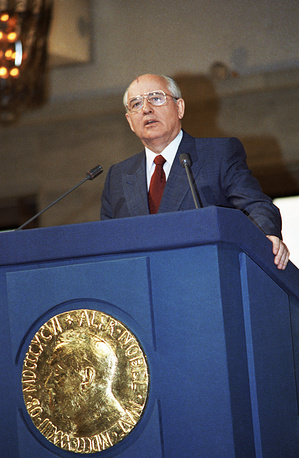 "The first and the last Soviet Union president, Mikhail Gorbachev was awarded the Nobel Peace Prize in 1990 ""for his leading role in the peace process which today characterizes important parts of the international community"""