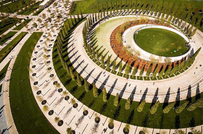 An aerial image of a new park outside Krasnodar Stadium, Russia, October 9