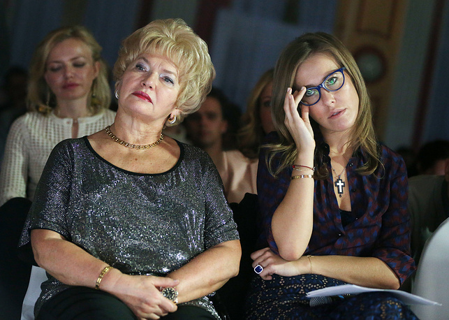 Ksenia, 35, is the daughter of late Anatoly Sobchak, the first democratically elected mayor of St. Petersburg who was once a political mentor to Russian leader Vladimir Putin. Photo: Ksenia Sobchak with her mother Lyudmila Narusova