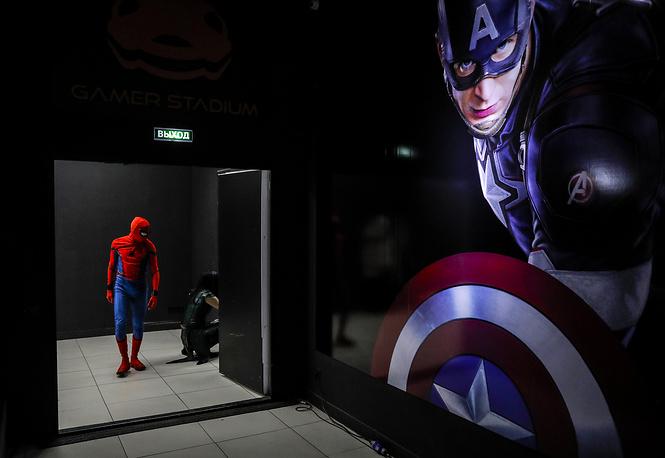 A man dressed as Marvel superhero Spider-Man
