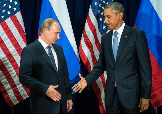 Russia's President Vladimir Putin and 44th US President Barack Obama seen during the meeting on the sidelines of the 70th session of the United Nations General Assembly, 2015