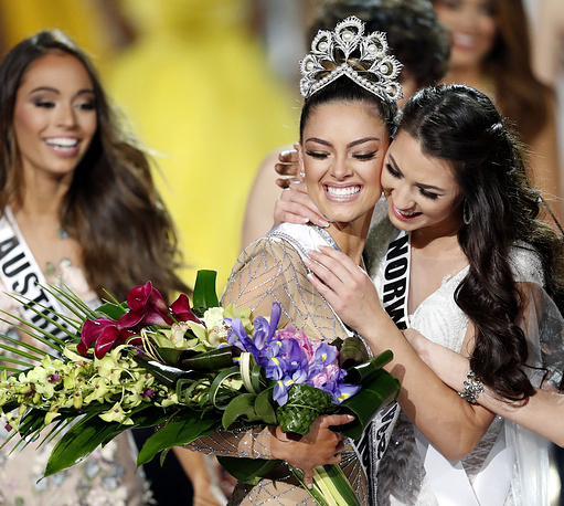 Demi-Leigh Nel-Peters is congratulated after being named 2017 Miss Universe