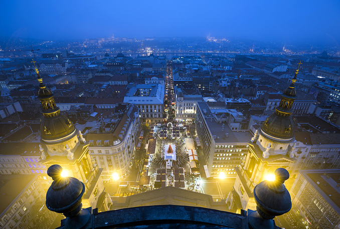 The Christmas market at Szent Istvan square in downtown Budapest, Hungary, November 24