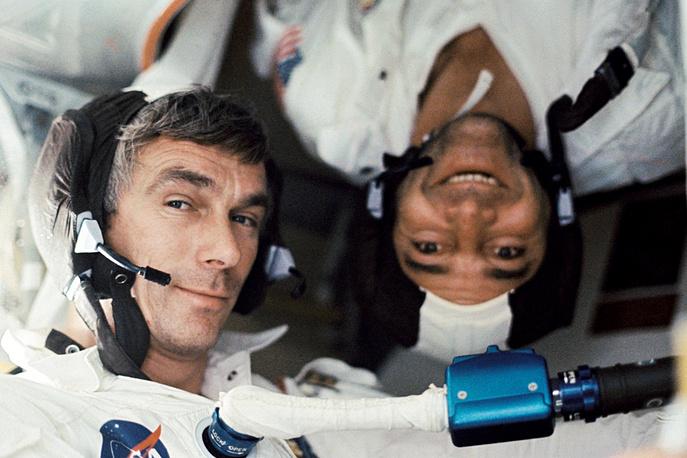 Aboard the Apollo 17 spacecraft were astronaut Eugene A. Cernan, commander; astronaut Ronald E. Evans, command module pilot and scientist-astronaut Harrison H. Schmitt, lunar module pilot. Photo: Eugene A. Cernan and  Ronald E. Evans under zero-gravity conditions aboard the Apollo 17 spacecraft, 1972