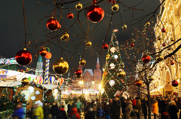Trees in Red Square decorated with baubles for the New Year and Christmas holidays