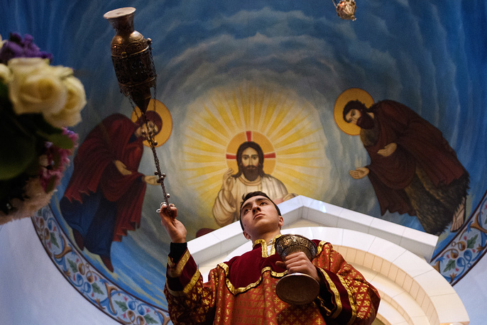A Christmas and Epiphany service at the Saint Karapet Armenian Church, Yekaterinburg, Russia, January 6