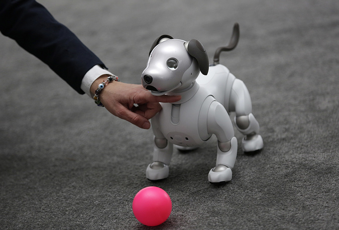 The Aibo robot dog on display at the Sony booth after a news conference at CES International in Las Vegas, USA, January 8