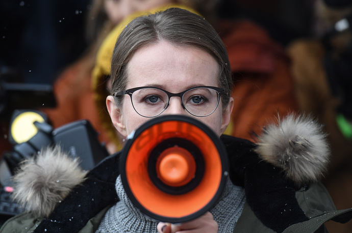 TV presenter Ksenia Sobchak, a Civil Initiative Party candidate, addresses voters at her Berdsk election campaign office ahead of the 2018 Russian presidential election, Novosibirsk region, January 18
