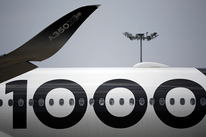 The wingtip winglet of an Airbus A350-1000 XWB