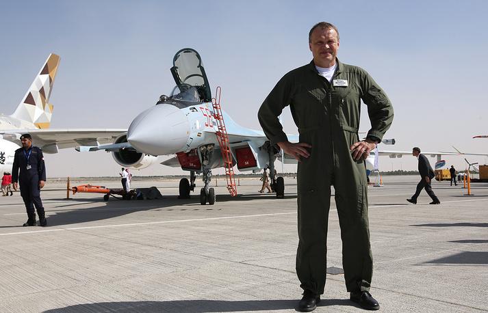 Test pilot Sergei Bogdan and Sukhoi Su-35 fighter jet