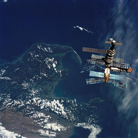 Mir Space Station seen from the window of the Space Shuttle Atlantis