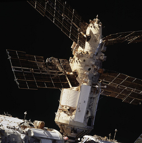 Mir Space Station's Spektr Module shows the backside of a solar array panel and damage incurred by the impact of a Russian unmanned Progress re-supply ship which collided with the space station on June 25, 1997