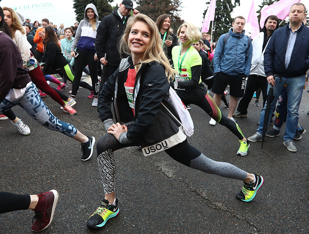 Vodianova is founder of the Naked Heart Foundation, a philanthropic organisation. Photo: Natalia Vodianova seen ahead of the first Running Hearts charity race held by Naked Heart Foundation in Moscow
