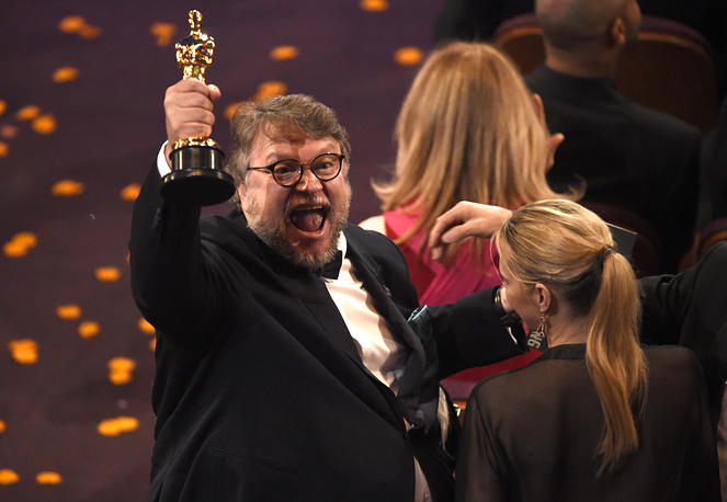 "Guillermo del Toro, winner of the award for best director for ""The Shape of Water"""