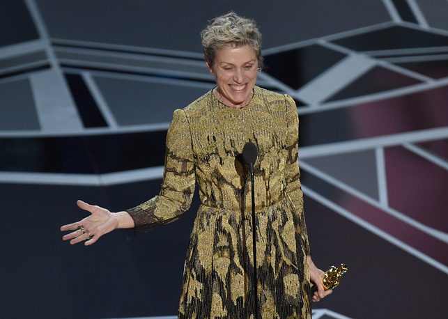 "Frances McDormand accepts the award for best performance by an actress in a leading role for ""Three Billboards Outside Ebbing, Missouri"" Angeles."