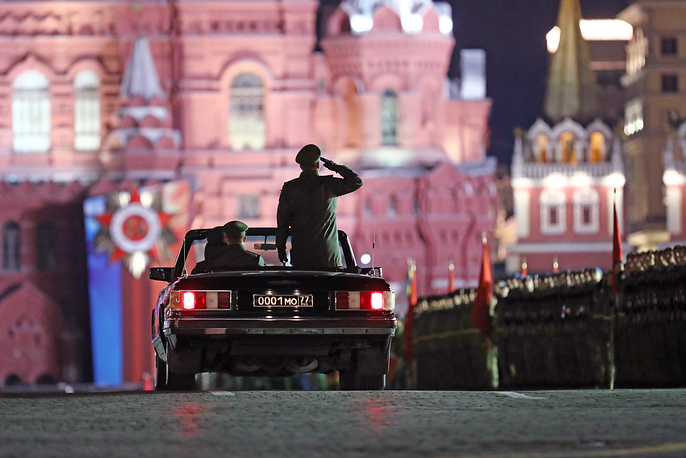 The parade commander's car seen in Moscow's Red Square