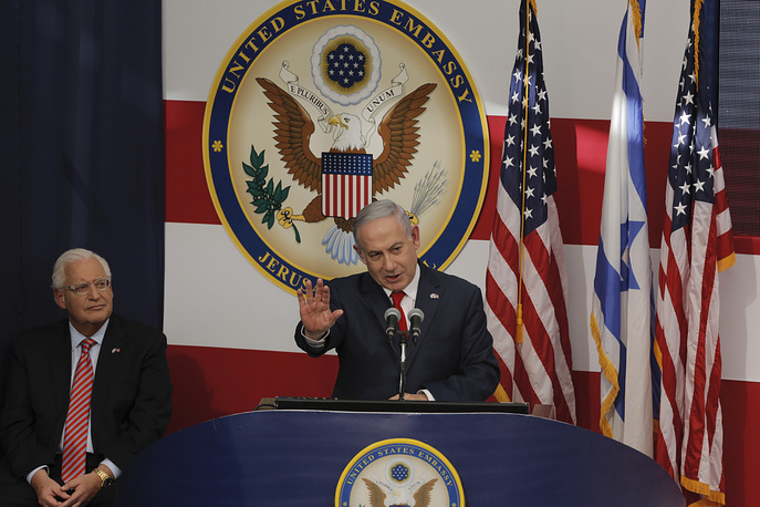Israel's Prime Minister Benjamin Netanyahu delivers his speech during the opening ceremony of the new US embassy in Jerusalem