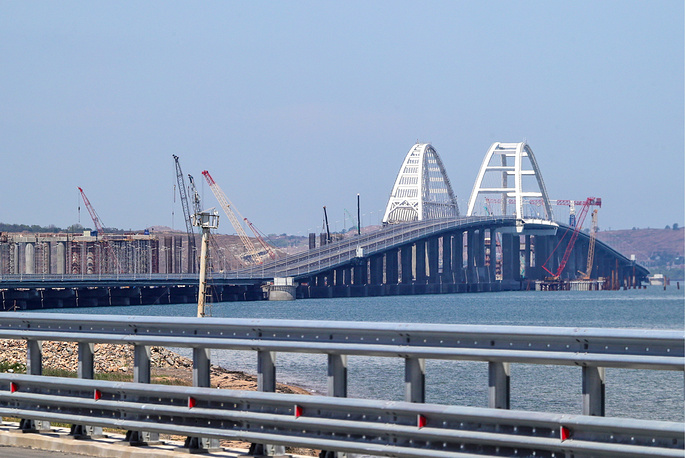 Kerch Strait Bridge measuring 19 km in length links Crimea's Kerch Peninsula to mainland Russia