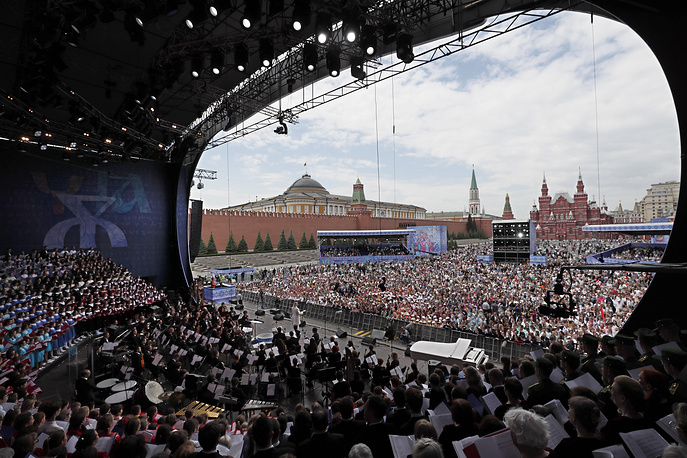 A choir and orchestra perform during the concert to mark the Day of Slavic Written Language at the Red Square in Moscow, May 24. The day commemorates the Saints Cyril and Methodius, creators of the Slavic Cyrilic alphabet