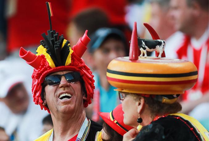 Belgian football fans seen near Fisht Olympic Stadium in Sochi