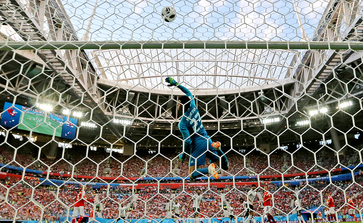 Egypt's goalkeeper Mohamed El Shenawy in action in the 2018 FIFA World Cup Group A Round 2 football match against Russia at St Petersburg Stadium, June 19. Russia won the game 3-1