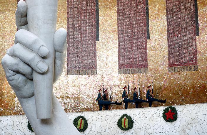 Russian Honor guards at the Motherland Calls statue at World War II memorial complex Mamayev Kurgan, in Volgograd June 18
