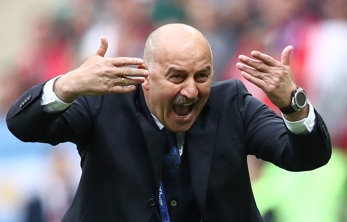 Russia's head coach Stanislav Cherchesov reacts in the 2018 FIFA World Cup opening match against Saudi Arabia at Luzhniki Stadium. Russia won the game 5:0