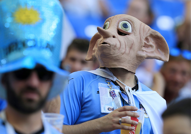 Uruguay's fan seen at Rostov Arena Stadium