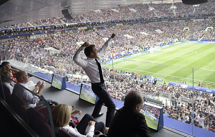 French President Emmanuel Macron reacts during the final match between France and Croatia at the 2018 soccer World Cup in the Luzhniki Stadium in Moscow, July 15. France won the final 4-2