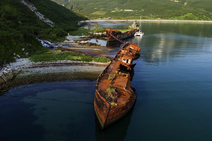 Abandoned ships in the Russkaya Bay of the Avacha Gulf on the southeastern coast of Kamchatka Peninsula